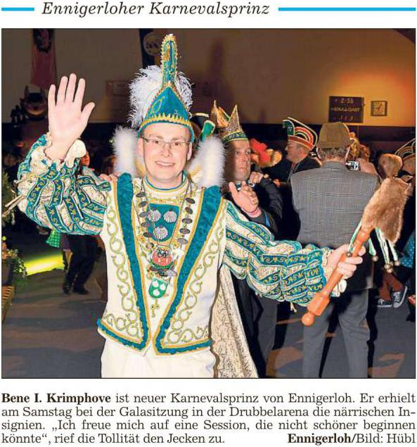 Bene I. feiert Gala und Prinzenempfang mit seinem Gefolge